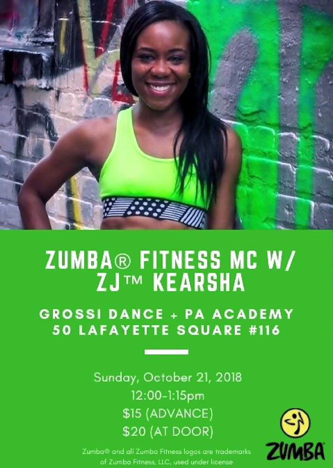 Miss Jenn is sponsoring a Zumba Fitness Master Class with Master Instructor Kearsha. The Class is Sunday October 21st from 12:00 - 1:15pm at the studio.